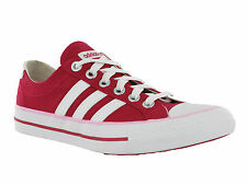 Adidas VLNEO 3 Stripes Lo Red Canvas Womens Lace Up Casual Pumps Trainers Shoes