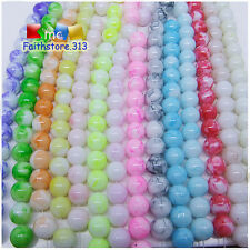 30pcs 8mm Round Chic Glass Loose Spacer Beads Pick Summer Light Colors Mixed G09