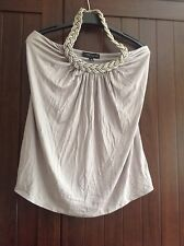 Cable and gauge ladies halter neck top silvery grey small viscose glamourous top