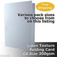 C6 Scored Card White Linen Texture 300gsm folded size 110x155mm #H6022A