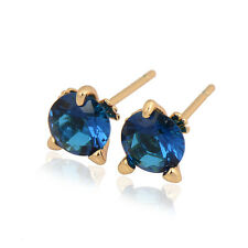 Delicate 18K Yellow Gold Filled Colorful Round CZ Stud Earrings