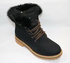LADIES LACE UP BLACK ANKLE BOOTS WITH FUR LINED WINTER WARM SIZE 3-8