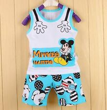 2PCS Boys Baby Toddlers Mickey Mouse Cotton Top T Shirt +Short Pants Outfits Set