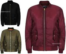 Boys Girls Kids Plain MA1 Quilted Front Button Pockets Zipped Up Bomber Jacket