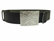 NEW Scottish Saltire and Lion Rampant Embossed Leather Kilt Belt and Buckle
