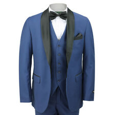 Mens Black Round Shawl Lapel Blue Tuxedo Dinner Suit 3 Piece Wedding Prom Party