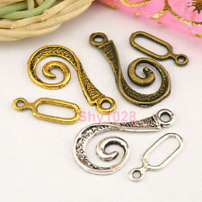 10Sets Tibetan Silver,Gold,Bronze Unique Connectors Hook Toggle Clasps M1381