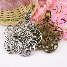 3Pcs Tibetan Silver,Bronze Hollow Flower Bail Charms Pendants 53x66mm M1278