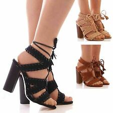 LADIES WOMENS LACE UP SHOES HIGH HEEL TIE UP FASHION SANDALS FAUX SUEDE SIZE