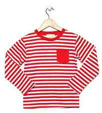 NEW Red & White Striped Long Sleeve Boys Winter Top with Plain Pocket