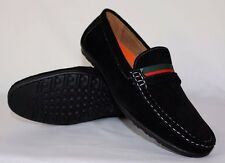 BLACK MENS ITALIAN LOAFERS MOCCASIN CASUAL PARTY SLIP ON SHOES