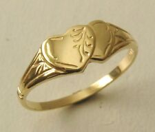 GENUINE SOLID 9K 9ct YELLOW GOLD DOUBLE HEART SIGNET RING Sizes J/5 to Q/8.5