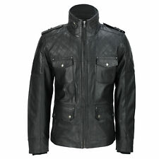 Mens New Black Real Leather Vintage Field Jacket Retro Smart Military Style Coat