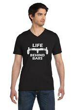 Life Behind Bars - Gift for Bike Riders Funny Bicycle V-Neck T-Shirt Cycling