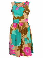 NEW LADIES EX DOROTHY PERKINS YELLOW GREEN FLORAL SUMMER SUN DRESS SIZE 8-18