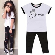 2PCS Toddler Kids Baby Girls T-shirt Tops + Long Pants Outfits Clothes Set