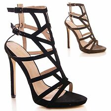 LADIES WOMENS HIGH HEEL SANDALS CUT OUT SHOES PEEP ZIP UP FORMAL PARTY SIZE