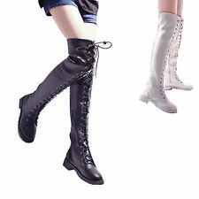 Women Over Knee Thigh High Boot Zipper Lace Up Combat Military Gladiator Black