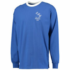 Score Draw Retro Football Everton 1966 FA Cup Winners Long Sleeve Blue Shirt