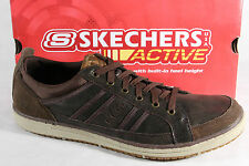 Skechers Men's Lace-up Shoes Sneakers Low Shoes brown leather new