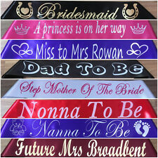 Personalised Birthday,Hen's Night,Baby Shower,Graduation,Party Sashes 13 Colours