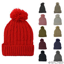 Unisex Mens Ladies Warm Winter Knitted Beanie Faux Fur Bobble Hat Cap