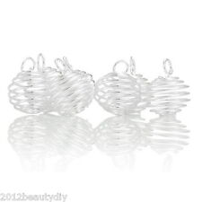 Wholesale New Silver Plated HOTSELL Spiral Bead Cages Pendants Findings