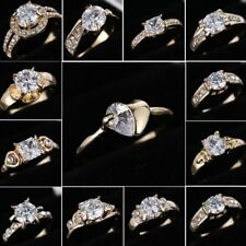 10KT Rose Gold Plated white Sapphire Crystal Women Men Engagement Ring Size 8