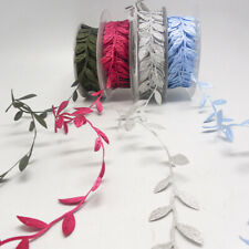 10Yds Vintage Satin Leaf Ribbon Vine Garlands Sew On Lace Trim For Bridal Dress