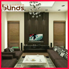 NEW! 180 x 210 Bamboo Roman Blind Blinds Teak & Black Room Darkening Ready Made