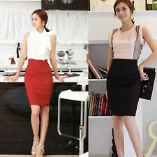 New Women High Waist Fit Knee Length Straight Solid Stretch Pencil Skirt