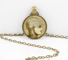 Psychology Brain Vintage Head Phrenology Pendant Necklace or Key Ring