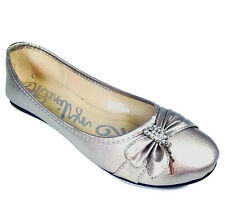 Pewter Metallic Round toe Ballet Flats Rhinestones and charms Women's shoes