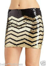 NWT bebe black gold sequin striped contrast dress mini skirt party M medium