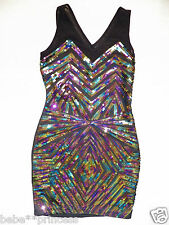 NWT bebe black low v cutout mesh sparkle sequin bodycon skirt top dress XS 0 2