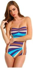 $164 MARC JACOBS S One Piece Blue Brown Striped Pleated RETRO Maillot SWIMSUIT