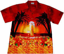 Hawaiian Shirt / M - 6XL / 100% cotton Mens Hawaian Hawai Hawaii Beer Beach red