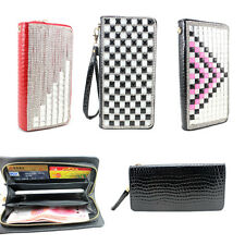 3D bling leather wallet diamond Handbag Clutch Purse zipper iphone samsung Case