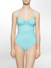 calvin klein womens ruched side one-piece swimsuit