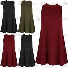 Ladies Top Womens Ribbed Lined Sleeveless Polo High Neck Baggy Flared Swing Vest