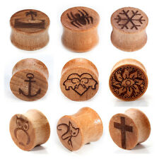 1pair 00g-20mm Wood Organic Ear Plugs Saddle Gauges Earrings Piercings 12 Styles