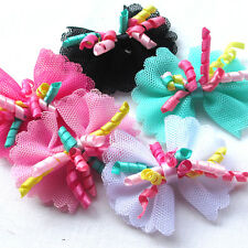 "Upick 20/100pc Colorful Ribbon Flowers Bows Craft Appliques Wedding 2 1/4"""" A497"