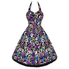 Hearts and Roses London Purple Floral Rose Rockabilly 50s Swing Party Prom Dress