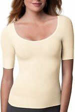 Spanx Shapewear On Top & In Control Elbow Length Scoop Neck Top #1012 Beige