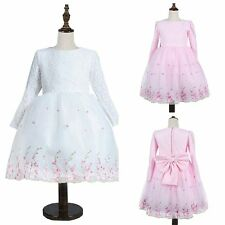 Formal Tulle Costume Birthday Wedding Party Flower Lace Princess Fancy Dress