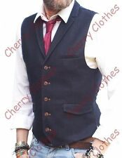 MENS NAVY BLUE LAPEL COLLAR WAISTCOAT SLIM FIT VEST - ALL SIZES