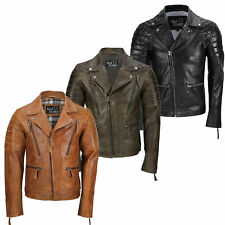 Mens New Black Brown Real Leather Vintage Biker Style Zipped Smart Casual Jacket