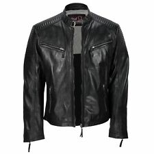 Mens New Black Real Leather Vintage Biker Style Zipped Smart Casual Retro Jacket
