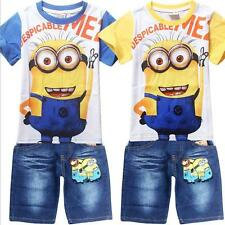 Despicable Me Minions T-Shirt Top + Short Jeans Kids Boys Girls Suits Childs Set