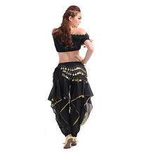 Belly Dance Costume Lantern Top Gold Wavy Pants Bloomers Hip Scarf Wrap Skirts